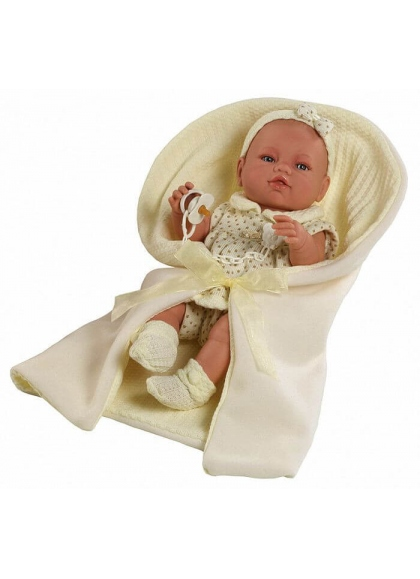 BABY DRESS BEIG AND BLANKETS IN A BOX