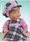DRESS AND HAT PLAID GRAY AND PINK
