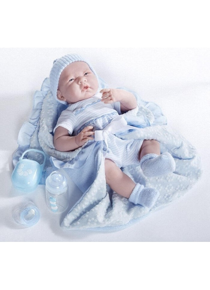 Newborn With a Whole Blue and Accessories