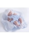 Newborn With a Blue Suit and a Whole