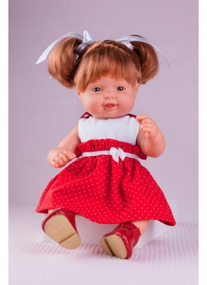 Cuco Vestido Rojo con Topos Blancos