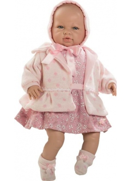Sarah newborn llorona with dress and coat, a pink bag