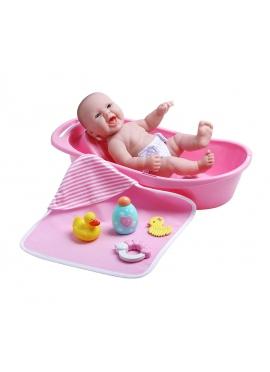 Neugeborene Mit Badewanne und Bad-Accessoires