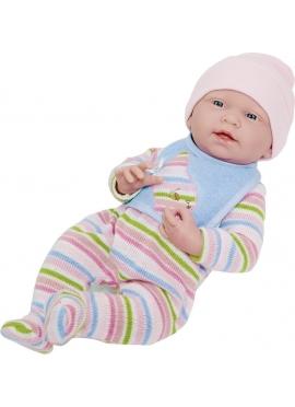 Newborn With Striped Pajamas and Cap