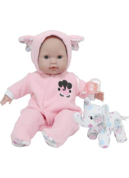 Baby mit rosa Pyjamas und Teddy