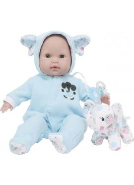 Bebé Con Pijama Azul y Peluche