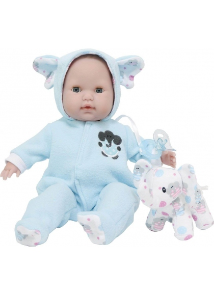 Bambino con pigiama blu e orsacchiotto