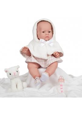 Lily Niña Con Vestido Rosa y Blanco Con Capucha 46 cm