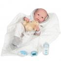 Newborn Niño Con Vestido Blanco y Gris Con Manta 43 cm
