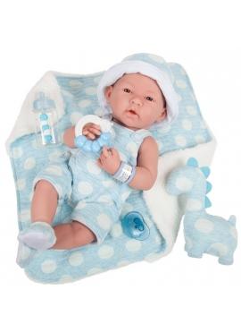 Newborn Niño Con Vestido Azul Lunares y Manta 38 cm