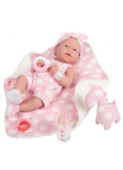 Newborn Niña Con Vestido Rosa Lunares y Manta 38 cm