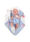 Newborn Niña Con Vestido Azul y Manta Azul 38 cm