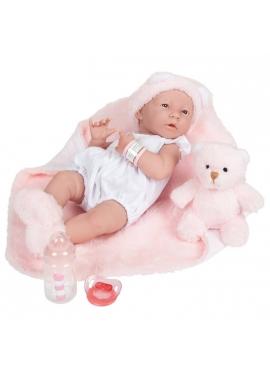 Newborn Niña Con Vestido Blanco y Manta Rosa 38 cm