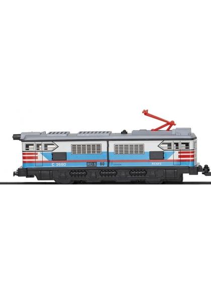 Locomotora Con Motor Clasica Azul Y Blanco