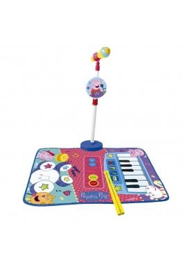 Alfombra Bateria Y Piano Con Micro Y Sporte Micrófono Peppa Pig