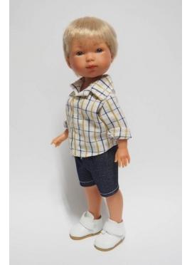 Bambola Nylo Vestita di Blu .camicia e Bermuda - 28 cm