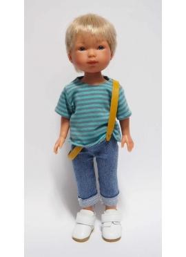 Bambola Nylo biondo, Vestito in jeans Blu e bretelle - 28 cm