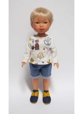 Bambola Nylo bionda, Vestita in Blu - t-Shirt con stampa e Bermuda - 28 cm