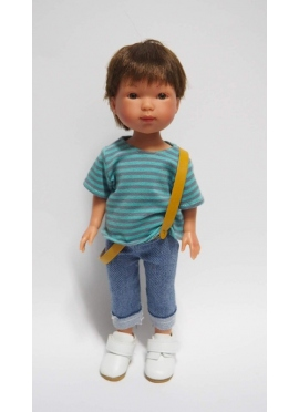 Bambola Albert, Vestita di Blu, Jeans, t-shirt a righe e bretelle - 28 cm