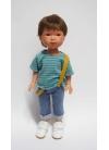 Albert Con Jeans A Righe T-Shirt E Bretelle 28 cm