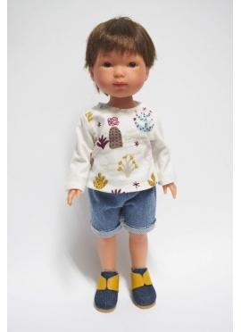 Bambola Albert, Vestita in Blu - Jeans e t-shirt con stampa di Cactus - 28 cm