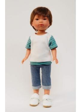 Bambola Albert, Vestita in Blu - Jeans e t-shirt - 28 cm