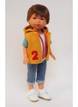 Bambola Albert, Vestita in Blu - Jeans e gilet, senape - 28 cm