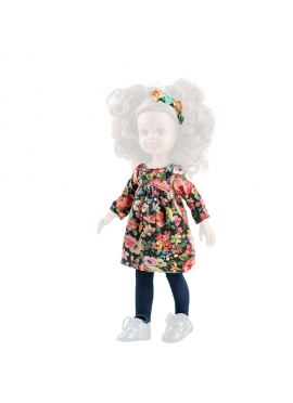 Floral flared dress for doll 32 cm - Las Amigas de Paola Reina
