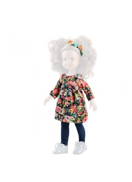 Floral flared dress for doll 32 cm - Las Amigas de Paola Reina Paola Reina Dolls Dresses and Accessories Las Amigas 32 Cm