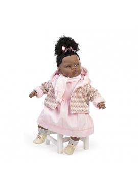 Baby dulzona llorona mulata con vestido y bufanda rosa en bolsa