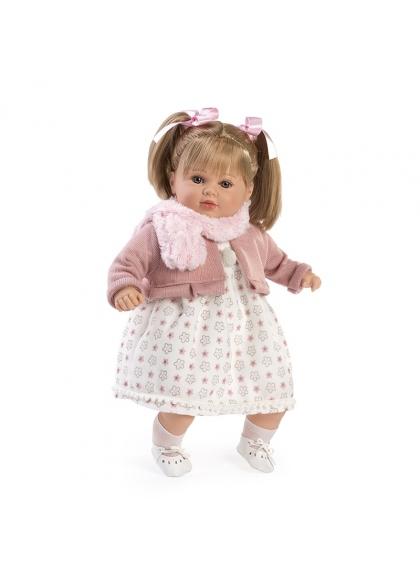 Carla habladora vestido y bufanda rosa en bolsa