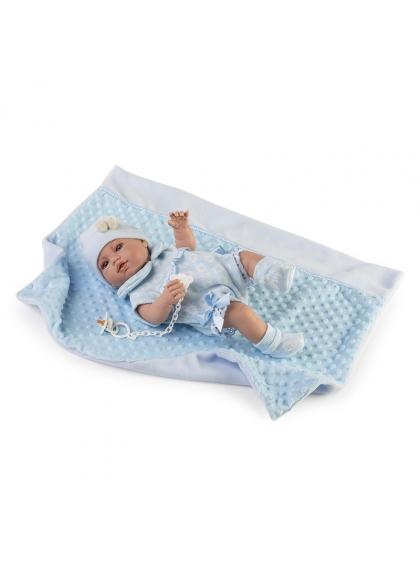 Muñecas Berbesa Recién Nacidos 42 Cm Recién nacido con pelele azul y mantita en bolsa