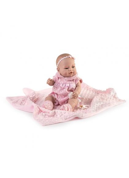 Muñecas Berbesa Recién Nacidos 42 Cm Recién nacida con pelele rosa y mantita en bolsa
