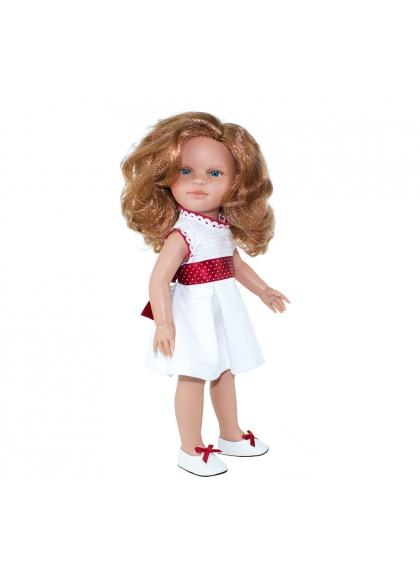 Nina Plirroja 42 cm Con Vestido Blanco En Estuche