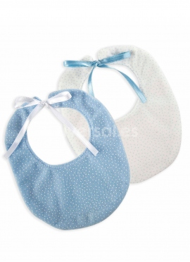 Set of 2 Bibs in Blue And White (sent in April)