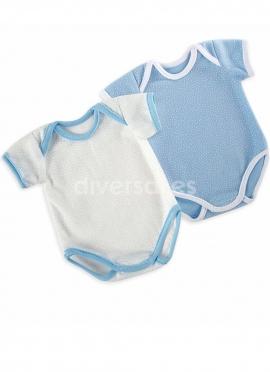 Набор из 2 синих и белых боди для куклы 45 см
