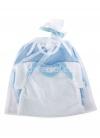 Set 2 blaue und weiße Bodys für Puppe 45 cm