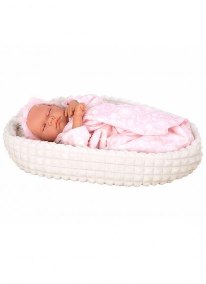 Eleganz 45 cm rosa Löwe mit Gewicht braune Tragetasche und Puppendecke