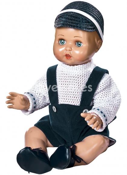 JUANIN BABY с темно-синим сарафаном и темно-синей соломенной кепкой