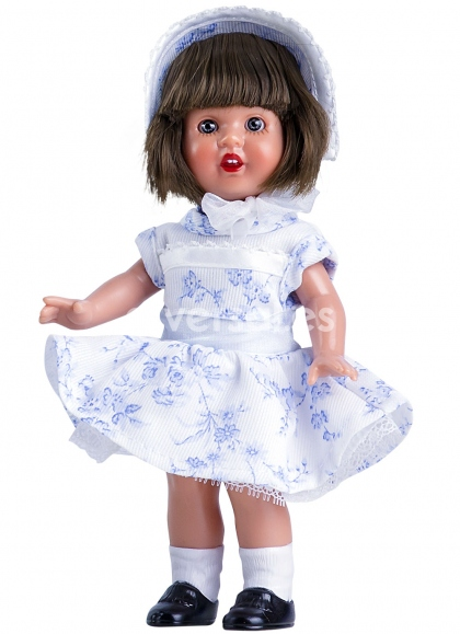 Mini Mariquita Vestido Blanco con Flores Azules