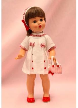 Mariquita Perez Con Vestido Blanco y Rayas Rojas