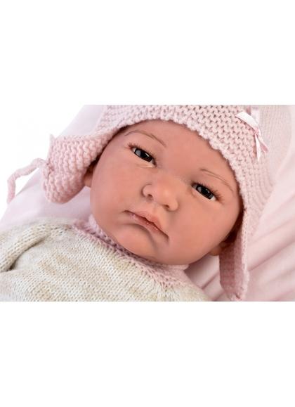 Reborn Hairless 42 Cm mit rosa und beigen Pyjamas