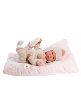 Reborn Hairless 42 Cm With Pink and Beige Pajamas
