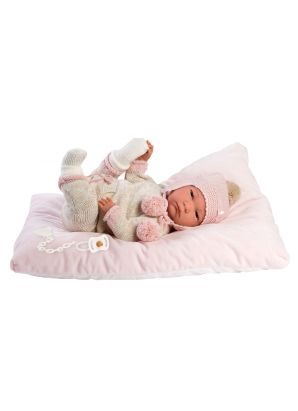 Reborn Hairless 42 Cm With Pink and Beige Pajamas Reborn Babies Llorens Reborn Babies Llorens 18011