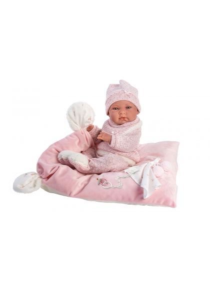 Nica With Pink Cushion 40 Cm Llorens Newborn very soft 73860