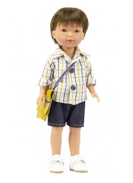 Bambola Albert, Vestita in Blu - Bermuda e camicia a quadri - 28 cm