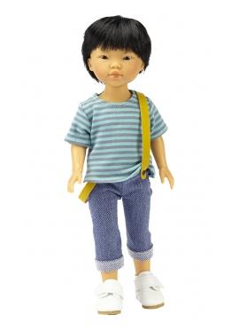 Bambola Kenzo asiatico, Vestita in Blu - set di abbigliamento casual - 28 cm