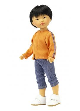 Азиатская кукла Кензо в синем - джинсы и оранжевый свитер - 28 см