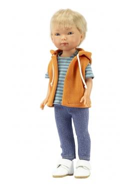 Bambola Nylo bionda, Vestita in Blu - Abbigliamento casual gilet - 28 cm