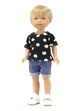 Bambola Nylo bionda, Vestita in Blu - Abbigliamento casual: t-shirt - 28 cm